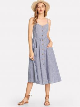 Casual Cami Striped Straight Regular Fit Spaghetti Strap Sleeveless Natural Blue Long Length Button Up Pocket Front Pinstripe Cami Dress