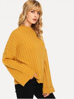 Affordable Long Sleeve Pullovers Pocket Mesh Stander Collar Bell Sleeve Textured Sweater