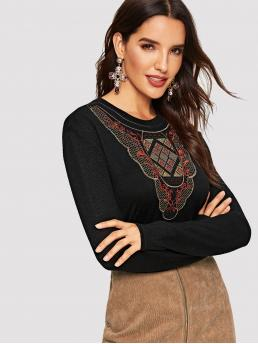 Casual Regular Fit Round Neck Long Sleeve Pullovers Black Regular Length Mixed Embroidered Fitted Tee