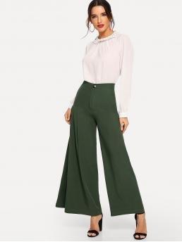 Elegant Plain Wide Leg Loose Button Fly High Waist Green Long Length Pleated Wide Leg Pants