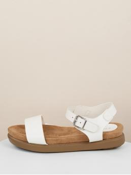 Comfort Open Toe Flatform Ankle strap White Low Heel Chunky Buckled Ankle Strap Flatform Footbed Sandals