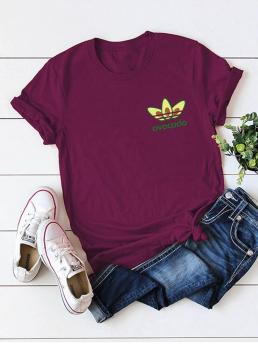 Casual Letter and Fruit&Vegetable Regular Fit Round Neck Short Sleeve Regular Sleeve Pullovers Burgundy Regular Length Round Neck Letter And Avocado Print Tee