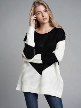 Casual Colorblock Pullovers Regular Fit Round Neck Long Sleeve Regular Sleeve Pullovers Black and White Regular Length Contrast Panel Ribbed Knit Sweater