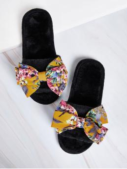 Comfort Open Toe Floral Black Bow Decor Fluffy Slippers