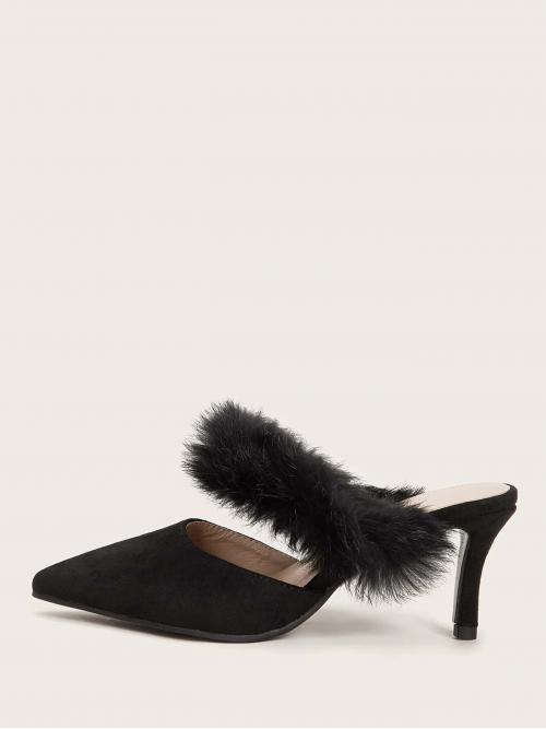 Business Casual Point Toe Black Mid Heel Stiletto Contrast Faux Fur Stiletto Heeled Mules