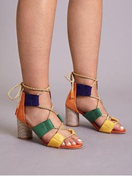 Comfort Open Toe Multicolor High Heel Chunky Color Block Lace-up Back Chunky Heels
