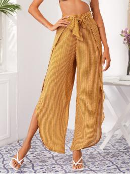 Women's Mustard Yellow High Waist Zipper Wide Leg Petal Pants