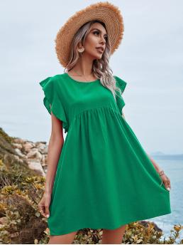 Green Plain Ruffle Round Neck Solid Cuff Dress Beautiful