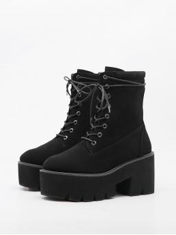 Black Suede Rubber Pu Leather Minimalist Front Platform Chunky Boots Clearance