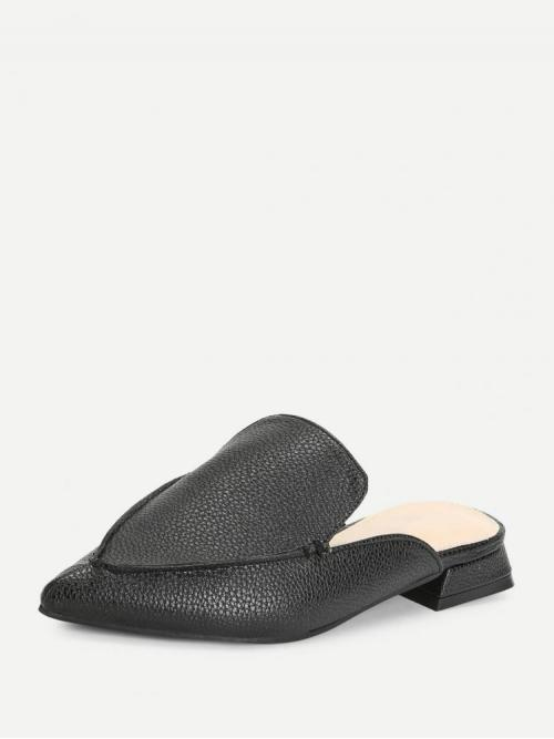 Discount Corduroy Black Mules Buckle Pu Pointed Toe Flat