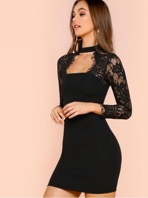 Women's Black Plain Zipper Keyhole Neckline Eyelash Lace Sleeve Choker Neck Dress