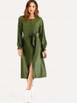Casual Tunic Plain Straight Loose Round Neck Long Sleeve Natural Army Green Long Length Faux Pearl Decorated Split Sleeve Dress