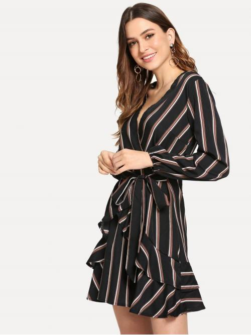 Womens Black Striped Belted V Neck Ruffle Trim Dress