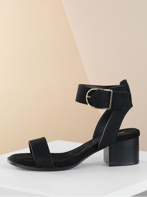 Beautiful Corduroy Black Mules Studded Ankle Low Heel Sandals