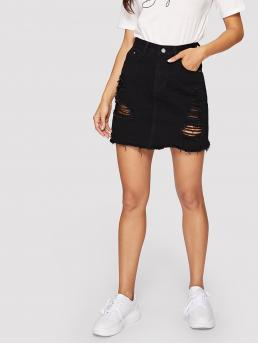 Distressed Frayed Denim Mini Skirt Pretty