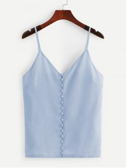 Casual Cami Plain Regular Fit Spaghetti Strap Blue Regular Length Covered Button Front Cami Top