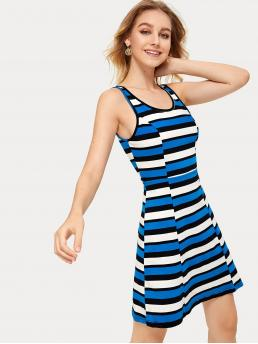 Casual A Line Striped Flared Scoop Neck Sleeveless Natural Multicolor Short Length Multi-striped Tank Dress