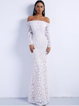 Glamorous Bodycon Tribal Mermaid Slim Fit Off the Shoulder Long Sleeve Regular Sleeve Natural White Maxi Length Missord Off Shoulder Zip Back Sequin Maxi Dress with Lining