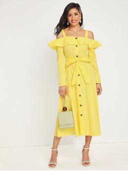 Boho A Line Plain Flared Regular Fit Straps Long Sleeve Regular Sleeve High Waist Yellow and Bright Long Length Cold Shoulder Ruffle Trim Belted Button Front Dress with Belt