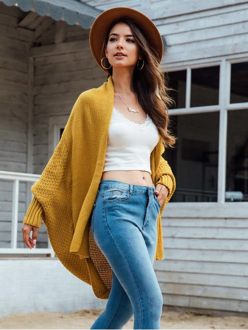 Casual Coat Plain Regular Fit Long Sleeve Yellow Longline Length Solid Open Front Batwing Sleeve Longline Cardigan