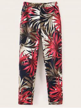 Boho Tropical Tapered/Carrot Skinny Elastic Waist High Waist Multicolor Cropped Length Tropical Print Elastic Waist Carrot Pants