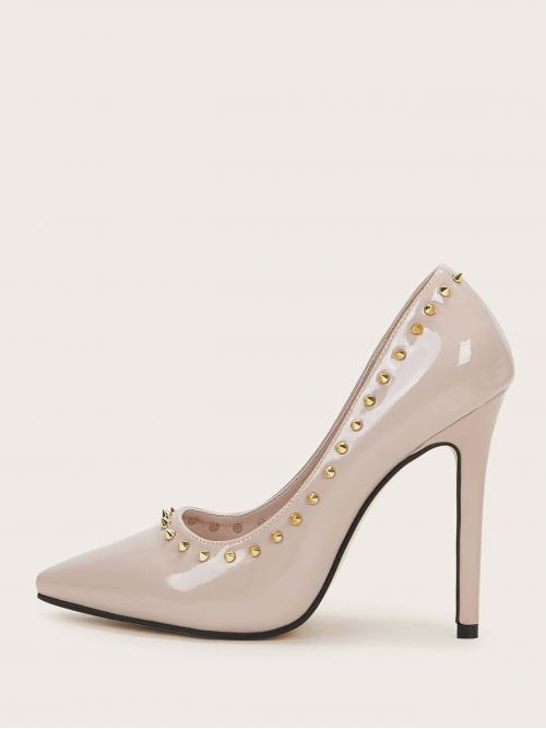 Glamorous Beige High Heel Stiletto Spiked Decor Point Toe Stiletto Heels