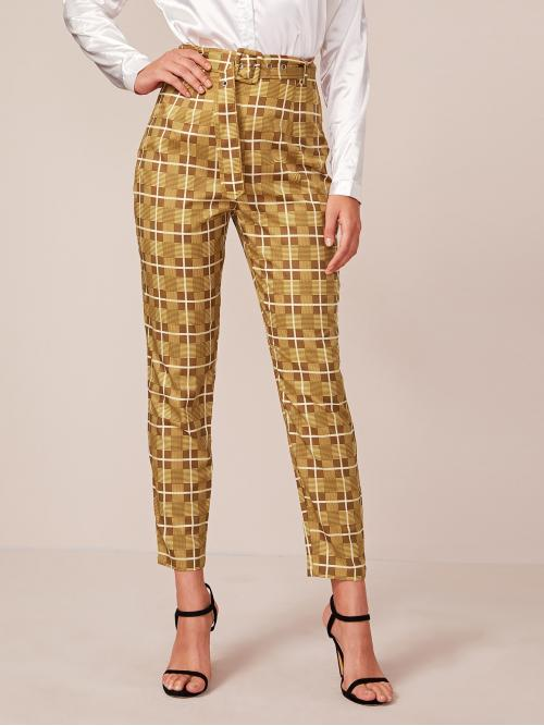 Elegant Plaid Tapered/Carrot Regular Zipper Fly Mid Waist Multicolor Long Length Buckle Belted Plaid Pants with Belt