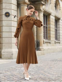 Brown Plain Button Front Stand Collar Knot Neck Ruffle Trim Hem Dress Ladies