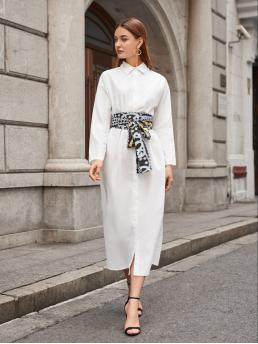 White Chain Print Button Front Collar Single Breasted Shirt Dress with Belt Sale