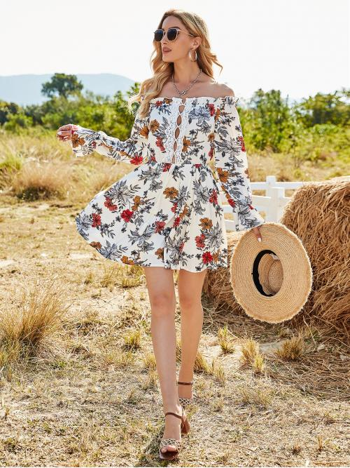 Shopping Multicolor all over Print Contrast Lace off the Shoulder Floral Print Guipure Lace Panel Bardot Dress