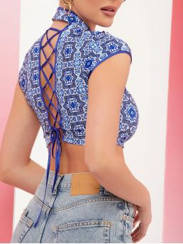 Fashion Cap Sleeve Cut out Polyester Graphic Ornate Print Top