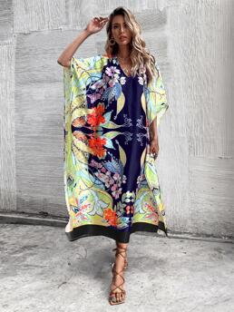 Baby Blue Floral V Neck Long Tunic Dress Without Belted Clearance