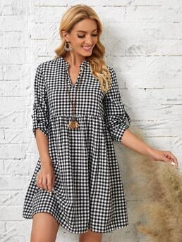 Womens White Gingham Button Notched Emery Rose Roll Tab Sleeve Dress