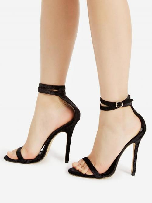 Corduroy Black Strappy Sandals Cut out Two Part Sandals Affordable