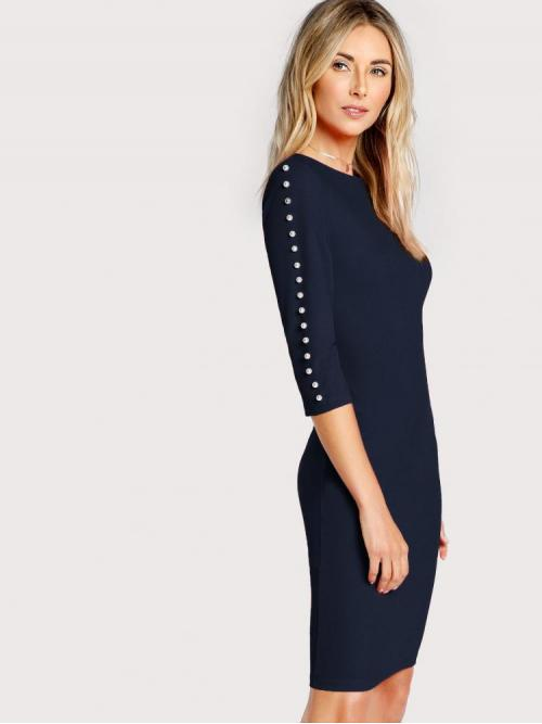 Navy Blue Plain Beaded Round Neck Faux Pearl Beading Zip up Dress Cheap