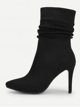 Other Plain Side zipper Black High Heel Stiletto Point Toe Ruched Stiletto Ankle Boots
