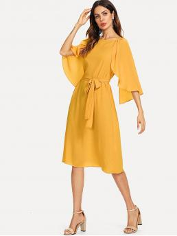 Fashion Yellow Plain Belted Round Neck Cape Sleeve Self Solid Dress