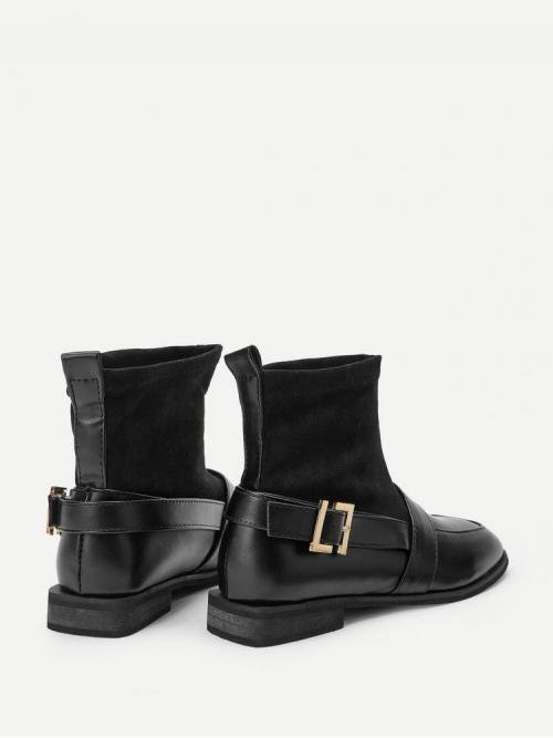 Women's Polyester Black Stretch Boots Buckle Solid Boots
