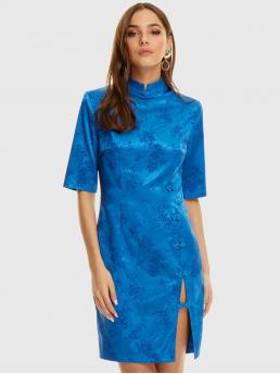 Glamorous Fitted Plain Slit Regular Fit Mandarin Collar Half Sleeve Regular Sleeve Natural Blue and Bright Short Length Mandarin Collar Cheongsam Button Split Floral Jacquard Dress