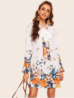 Boho Tunic Floral Straight Loose Stand Collar Long Sleeve Flounce Sleeve Natural White Short Length Tie Neck Bell Sleeve Tunic Floral Dress