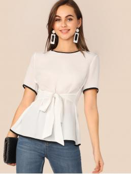 Casual Top Regular Fit Round Neck Short Sleeve Regular Sleeve Pullovers White Regular Length Contrast Piping Self Belted Blouse