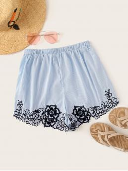 Casual Striped Wide Leg Regular Elastic Waist Mid Waist Blue Striped Floral Embroidered Shorts