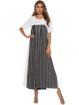 Modest A Line Striped and Colorblock Straight Loose Round Neck Short Sleeve High Waist Black and White Maxi Length Cut And Sew Stripe Dress