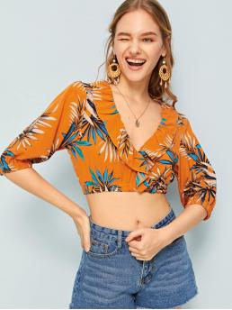 Boho Tropical Top Regular Fit Deep V Neck Half Sleeve Pullovers Multicolor Crop Length Leaf Print Flounce Trim Crop Blouse