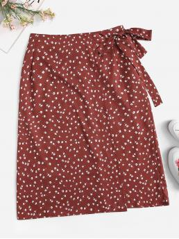 Casual Straight Ditsy Floral High Waist Multicolor Midi Length Ditsy Floral Print Knot Detail Skirt