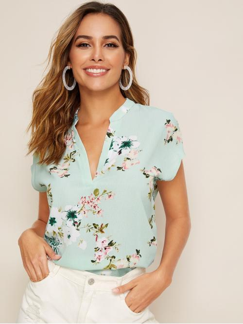 Casual Floral Asymmetrical Top Regular Fit Stand Collar Short Sleeve Regular Sleeve Pullovers Green Regular Length V-neck Floral Print Top
