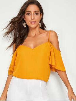 Casual Plain Top Regular Fit Spaghetti Strap Half Sleeve Butterfly Sleeve Pullovers Yellow and Bright Regular Length Cold Shoulder Flutter Sleeve Top