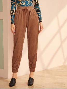 Casual Plain Tapered/Carrot Regular Drawstring Waist and Elastic Waist High Waist Brown Long Length Drawstring Waist Slant Pocket Cord Pants