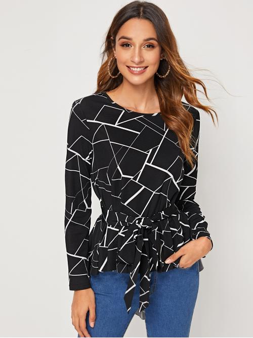 Elegant Geometric Asymmetrical Top Regular Fit Round Neck Long Sleeve Regular Sleeve Pullovers Black Regular Length Geo Print Self Belted Dip Hem Top with Belt