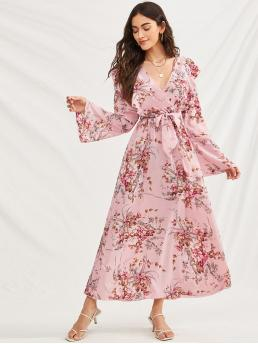 Boho A Line Floral Flared Regular Fit V neck Long Sleeve Flounce Sleeve High Waist Pink and Pastel Long Length Floral Print Ruffle Trim Belted Dress with Belt